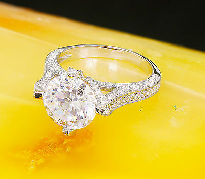 14K White Gold Round Forever One Moissanite and Diamond Engagement Ring 2.20ct 5