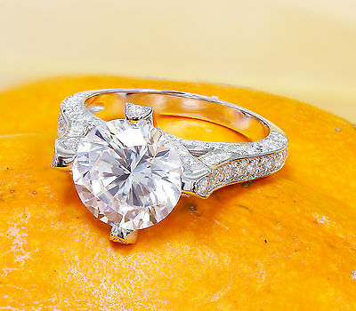 14K White Gold Round Forever One Moissanite and Diamond Engagement Ring 2.20ct 7