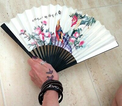 Vintage HAND HELD FOLDING FAN Bamboo Plastic Paper Fabric Lace Black Cream Red 3