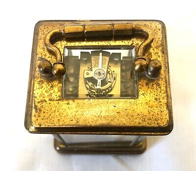 Antique 8 day Miniature Brass Carriage Clock Timepiece with Travelling Box Case 5