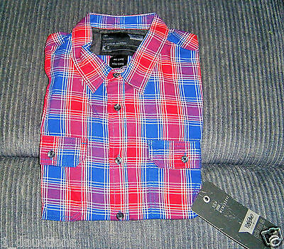 New Mens Mossimo Boys Short Sleeve Shirt Small Size Lava Red/blue Checkers