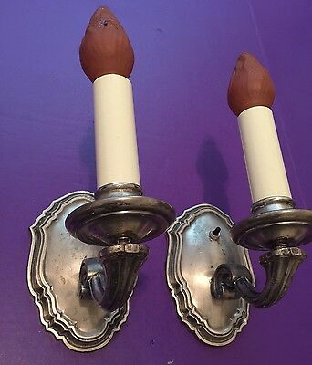 Heavy Cast Nickel Finish Wall Sconce Pair Beautiful Vintage Wired Great 3