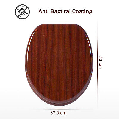 Mahogany Wooden Traditional Toilet Seat Chrome Hinge Fittings Bathroom Wc Loo
