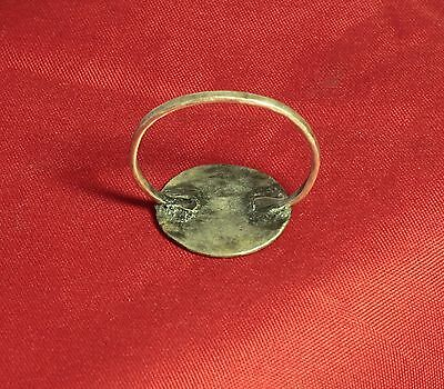 """Medieval Knight's Silver Seal Ring - """"D"""" Character Seal, 11. Century 4"""