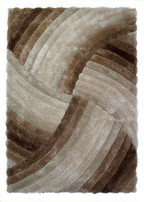 NEW HEAVYWEIGHT THICK SOFT CARVED PILE BEIGE BROWN NATURAL 3D VERGE FURROW RUG