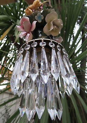 Porcelain ROSE pink Chandelier SWAG lamp Capodimonte Brass Vintage crystal 9
