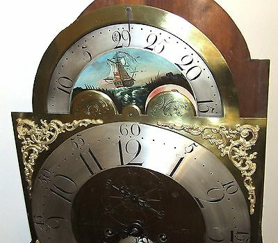 Antique Rolling Moon Oak & Mahogany Longcase Grandfather Clock MOYLE CHESTER 6