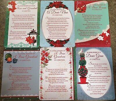 GRAVE MEMORIAL CARDS - Plastic Weatherproof - Various Relations & Christmas 9