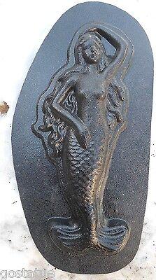 """Mermaid plaque mold concrete plaster casting garden mould 14/"""" x 5/"""" x 1.25/"""""""