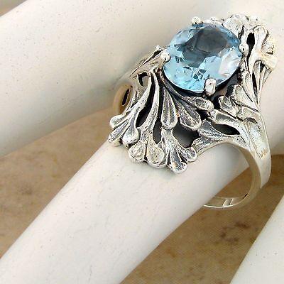 #1033 GENUINE SKY BLUE TOPAZ ART NOUVEAU ANTIQUE STYLE 925 SILVER RING SIZE 10