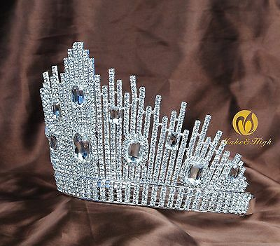 Miss Pageant Large Tiara Hair Crown Clear Crystal Bridal Headband Prom Party New