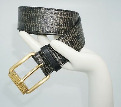 340dc34159e ... Moschino Men's Printed Logo Textured Leather Belt, Green/Muliti-Color,  MSRP $295