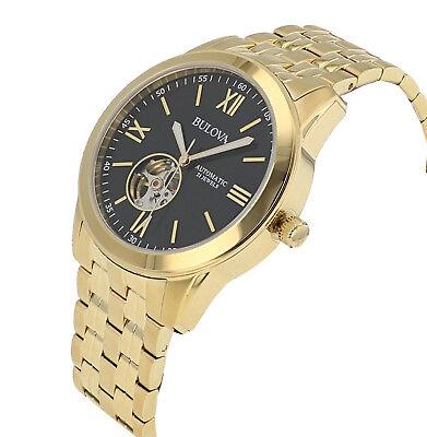 Bulova Men's 97A132 Automatic Open Heart Black Dial GoldTone Bracelet 42mm Watch 3