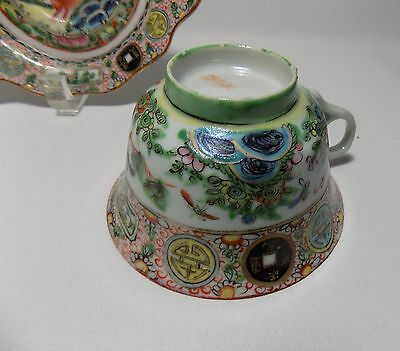 Chinese Antique Porcelain Famille Rose Canton Tea Cup&Saucer Unusual Dog & Coin