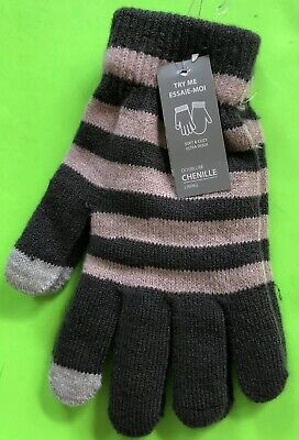 Gray And Pink (Salmon) Double Chenille Lined Gloves One Size Nwt! 2
