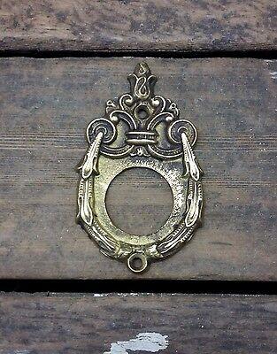 VTG Antique FANCY Swag* Cast BRASS Exterior Door Key Cylinder ROSETTE Backplate 2