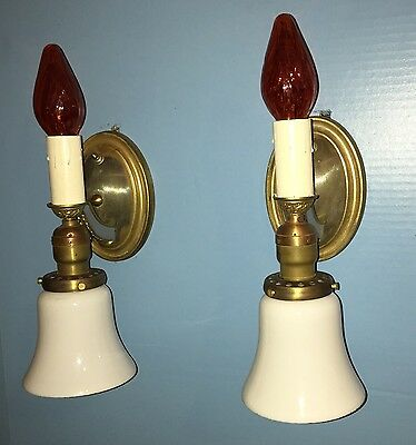 Pair 2 Candle & Glass Shade Wall Sconces Art Deco Beautiful Unique Rare 7