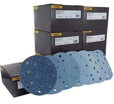 "Mirka Basecut 15 Hole Hook n Loop Sanding Discs H&L 150mm 6"" Sand Paper Disks 2"