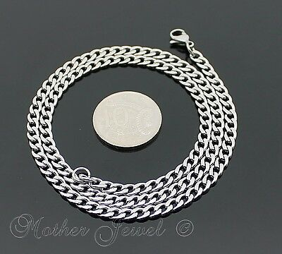 60Cm Silver 316L Stainless Steel 4.5Mm Curb Chain Mens Womens Unisex Necklace 3