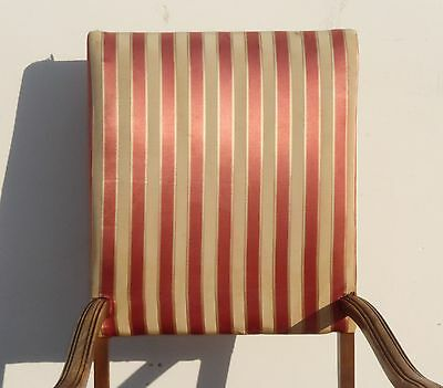 Antique Red & White Striped Silk Accent Arm Chair Floral Design Carved Wood 5