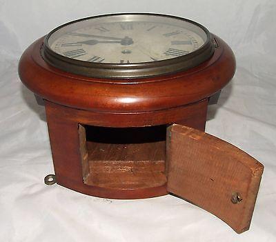 # Antique  rare 8 inch Dial CHAIN Fusee Mahogany Wall School Clock c1900 8