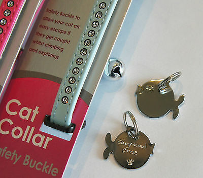 Ancol Deluxe Jewel Cat Collar With Hand Engraved Chrome Fish Id Tag Free P&p 2
