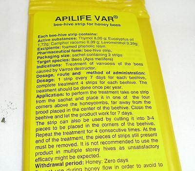 APILIFE VAR varroa treatment  4 sachets (8 biscuits) 5