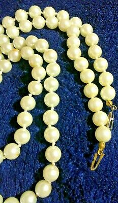 Antique or vintage Pearl or faux Pearl fancy clasp necklace 30 in end-to-end 2