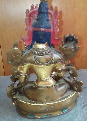 Antique Brass metal gold Whiter Dumu Statue 铜鎏金白度母菩萨像  铜 像 6