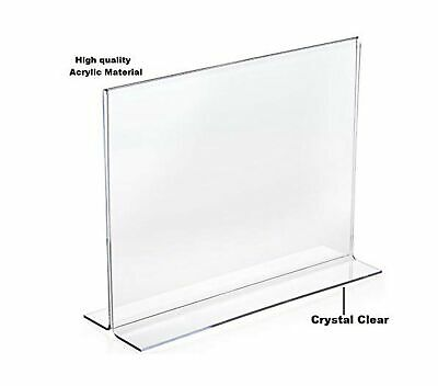 """1InTheOffice Acrylic Stand-Up Horizontal Sign Holder 8.5x11""""6 Pack"""" 3"""