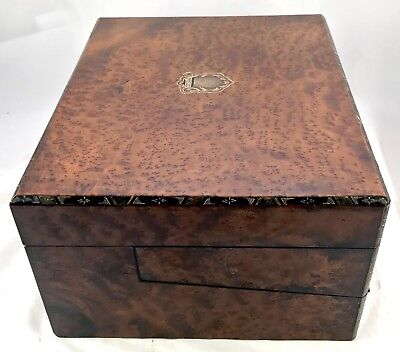 Antique Birds Eye Maple & Mother of Pearl Fitted Writing Box Slope circa 1880 12