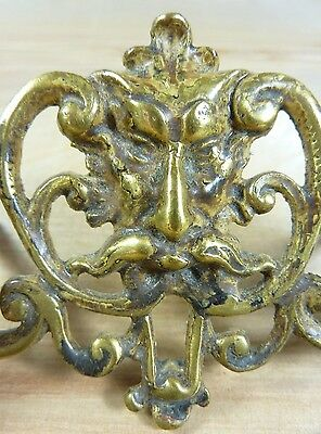 Antique 19c Brass Grotesque Face Head Koi Monster Pulls Architectural Hardware 5