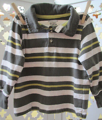 Old Navy Toddler Boy Rugby Polo Shirt, 18-24 Months, Lot of 2, Green Stripe Top 2