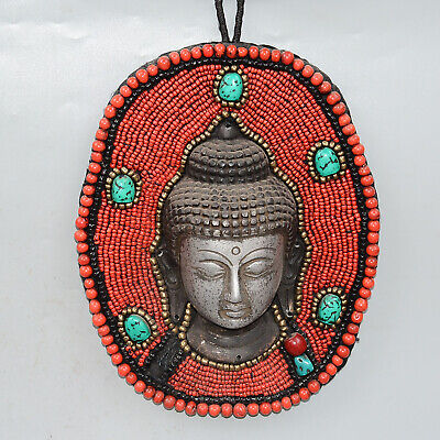 Collect Old Miao Silver Inlay Turquoise Carve Buddhism Kwan-Yin Decorate Statue 2