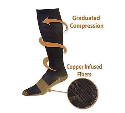 (5 Pairs) Copper Compression Socks 20-30mmHg Graduated Support Mens Womens S-XXL 8