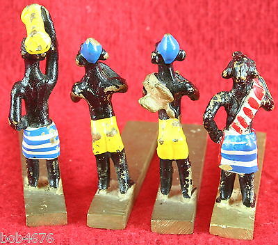 4 VINTAGE 1930s/40s SOLID BRASS HAND PAINTED MINIATURE EGYPTIAN Musician FIGURES 4
