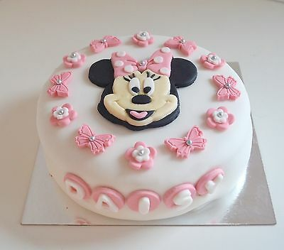 Excellent Edible Minnie Mouse Cake Topper Birthday Icing Personalised Pink Funny Birthday Cards Online Eattedamsfinfo