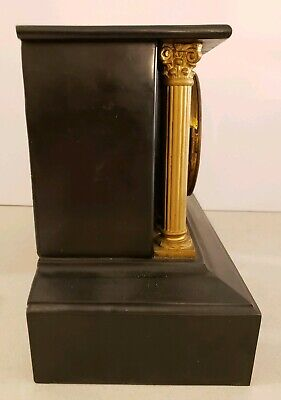 Antique Working 19th C. ANSONIA Victorian Black Iron Pillar Column Mantel Clock 10