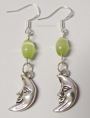 MOON EARRINGS 925 STERLING SILVER HOOKS Wicca Witch Pagan Goth