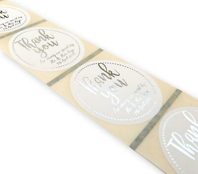 45MM WHITE ROUND Personalised Gold Foil Thank You Wedding Labels Stickers