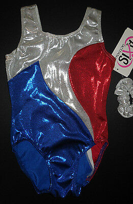 NWT Axis Gymnastic Dance Long Sleeve Leotard Patriotic Red White Blue Adlt//Child