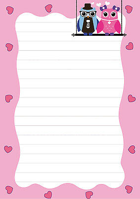 Happy Eule Schreibblock Eulen Paar A5 50 Bl Briefpapier Notizblock pink Herz