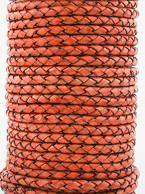 Xsotica® Round Bolo Braided Leather Cord 4 mm 1 Yard Flat Rate Shipping 6