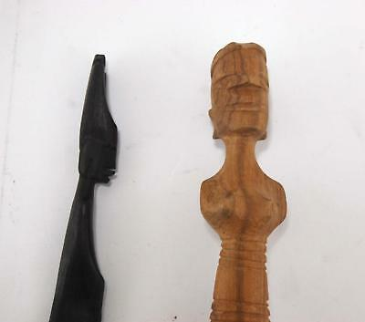 VTG Lot of 2 Brown Hand Carved Wood African Tribe People Wooden Letter Openers 3