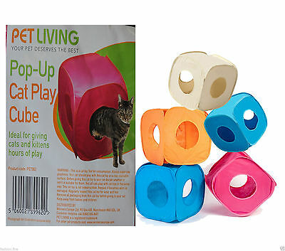 Pop Up Cat Kitten Play Cube Fun Strong Box For Cat Small Pets Folds Away 2