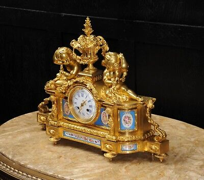 Large Antique French Ormolu And Sevres Porcelain Clock Cherubs Stunning 1850 4