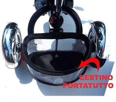 Triciclo Passeggino Per Bambino Bimbo Con Maniglione Direzionale Tettuccio Verde 6