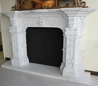 Hand Carved Carerra Marble Country French Monumental Fireplace Mantel Columns 9