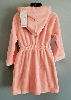 BNWT Girls Size 6 Soft Fluffy Coral Pink Dressing Gown With Hood 2