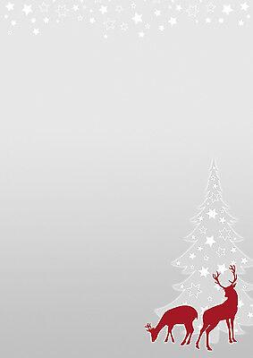 Weihnachtsbaum grau rot Set Weihnachten Briefpapier 50 Blatt A4 50 Kuverts mF